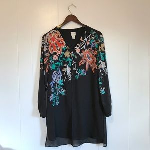 Chico's • Colorful Embroidered Sheer Layered Top